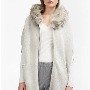 French Connection - Grey Poncho with faux fur